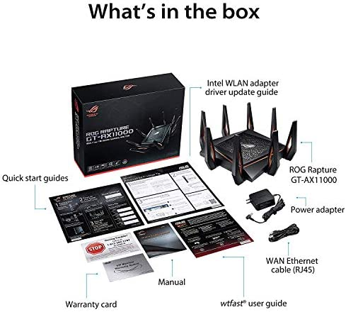 ASUS ROG Rapture GT-AX11000 AX11000 Tri-Band 10 Gigabit WiFi 6 Gaming Router, 2.5 Gb LAN port, AiProtection Lifetime Internet Security, Aimesh Compatible, Easy App setup, 802.11Ax