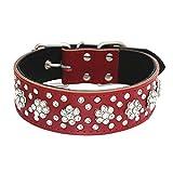 Combofix Leather Dog Collar Petal-Shaped Diamond Pet Collar Soft Leather Dog Pet Collars 1.5
