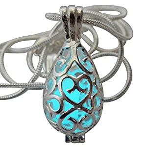 UMBRELLALABORATORY Wishing Teardrop Fairy Magical Fairy Glow in The Dark Necklace-Aqua-SIL