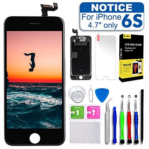 [해외]호환 아이폰 6S 화면 교체 블랙 4.7 \\ / Compatible with iPhone 6S Screen Replacement Black 4.7 Digitizer with Proximity Sensor + Ear Speaker + Front Camera + Repair Tools kit Display Touch LCD Frame Full Assembly Ten Minutes Replacin...
