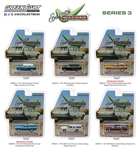 Estate Wagons Series 3, Set of 6 Cars 1/64 Diecast Models by Greenlight 29950