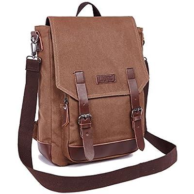 b1520bea631 durable service ZUOLUNDUO Vintage Canvas Laptop Bag Travel Bag Outdoor Backpack  School Bag