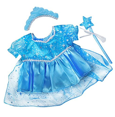 Blue Snow Princess Gown Outfit Teddy Bear Clothes Fits 8 inch to 10 inch Build-a-Bear, Vermont Teddy Bears, and Make from Stuffems Toy Shop