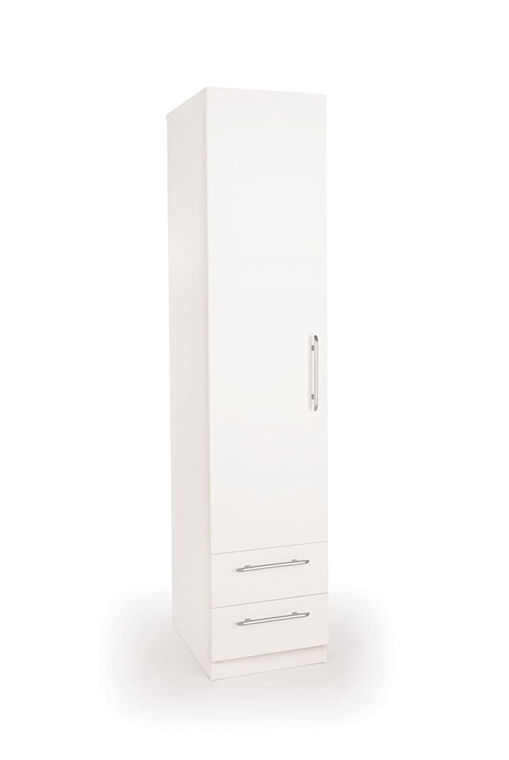 Acton 1-Door 2-Drawer Wardrobe, Wood, White Harmony H151217