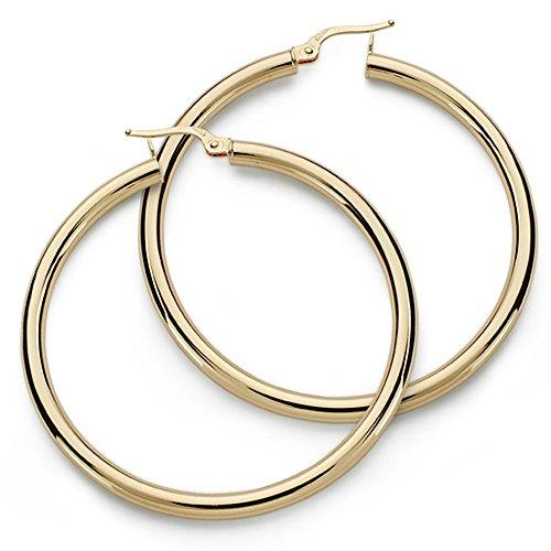 18k boucles d'oreilles en or bagues 47mm. trous ronds 3mm. [9810]