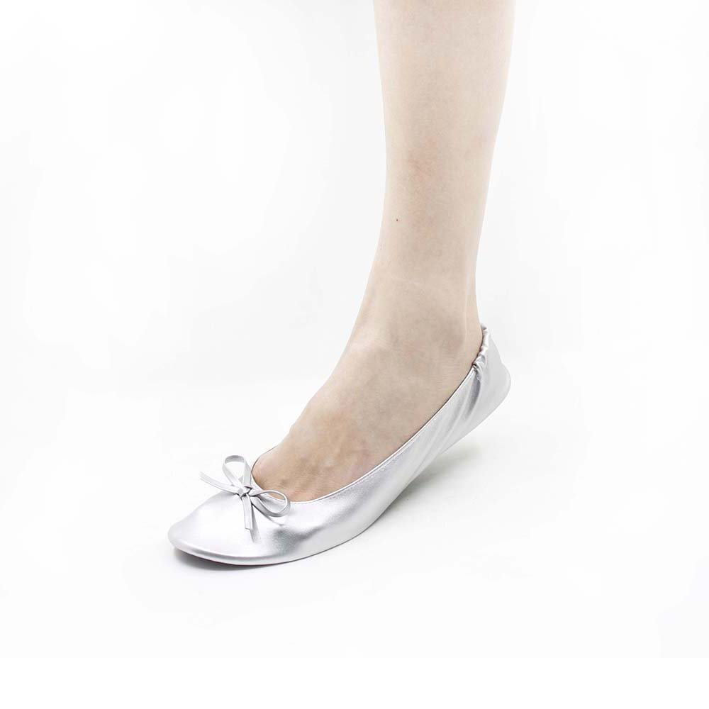MR.SWEETIE Womens Wedding Gift Foldable Portable Flexable Outsole Roll Up Ballet Flat Shoes (Small, Silver)