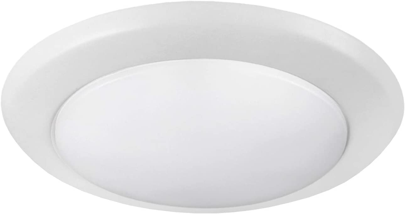 OSTWIN 6 Inch LED Disk Light-Dimmable Low Profile Ceiling Light-White Finish Surface Mount Fixture-15W(100W Eq.)-1300 Lm-4000K-J-box or Recessed Can-Wet Location-ETL&Energy Star