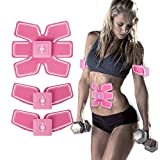 X-Space Abs Stimulator Muscle Waist Trimmer Belt Ab Stimulator Fit Training Portable Fitness Home Training Gear AB Trainer Wireless Muscle Exercise for Abdomen/Arm/Leg (Pink)