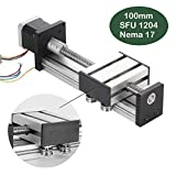 100mm Linear Rail Slide, DIY CNC Router Parts for X Y Z Axis Linear Stage Actuator Router Ballscrews SFU1204 with Nema17 42 Stepper Motor (3.94inchs)