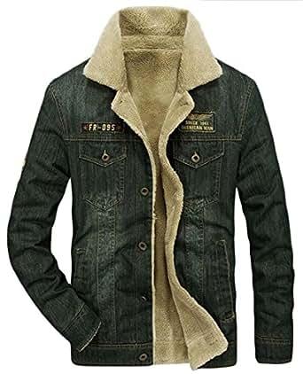 Qiangjinjiu Men's Winter Lined Fleece Button Down Denim