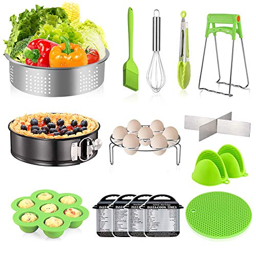 (Instant Pot Accessories Set - CHUGOD 16 Pcs Pressure Cooker Accessories Set Compatible with Instant Pot 5,6,8 Qt, Steamer Basket, Springform Pan, Egg Bites Mold, Egg Steamer Rack, Oven Mitts...)