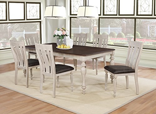Roundhill Furniture T7293-C7293-C7293-C7293 Arch Solid Wood Dining Set: Table with Extension Leaf, Six Chairs, Distressed White and Dark Oak