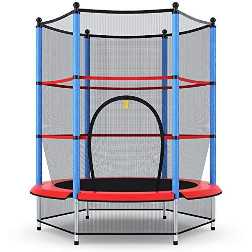 Giantex-55-Kids-Trampoline-with-Safety-Enclosure-Net-Spring-Pad-Bulit-in-Zipper-Heavy-Duty-Steel-Frame-Outdoor-Indoor-Mini-Trampolines-for-Kids