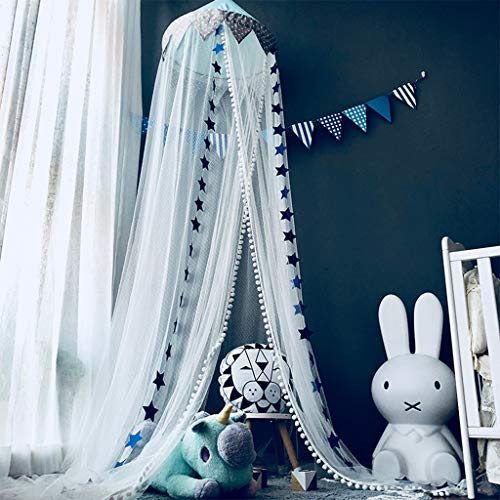 Bed Canopy Hanging Tents Mosquito Net Netting Curtains for Kids Children Room Decoration, Princess Baby Bed Canopy Crib Tent with Stars Decoration, Blue