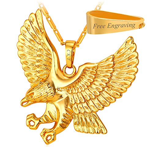 (U7 Men 18KGP Stamp Gold Plated American Eagle Pendant Necklace (Gold-Plated-Copper (with Custom Engrave)) )