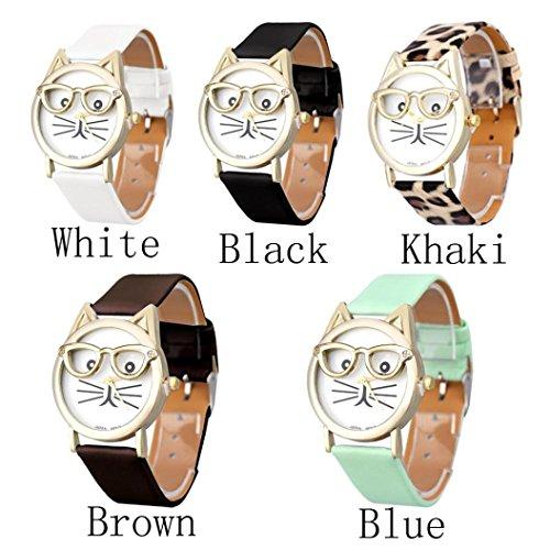 GOTD Womens Girls Cute Glasses Cat Analog Quartz Dial Wrist Watch (5 Pack)