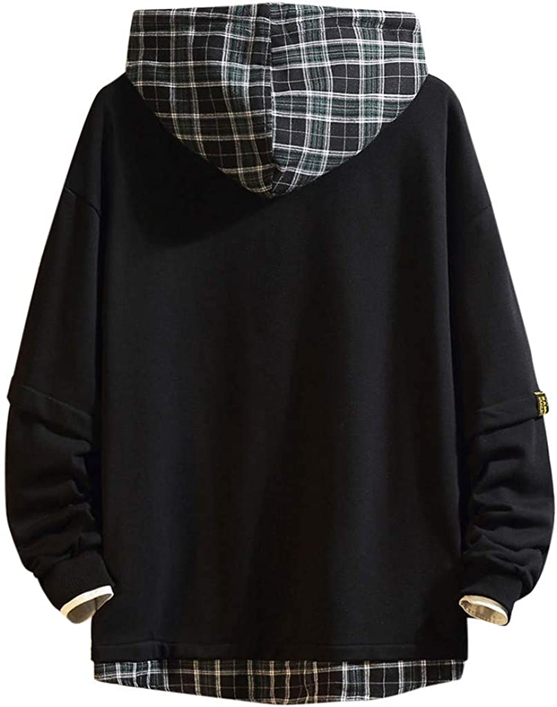 Bolayu Men Hoodie Solid Plaid Hippie Fashion Hooded Sweatshirt Plain Plaid Cool Sport Casual Light Winter Warm Loose