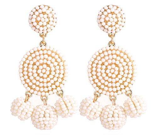 ELEARD Beaded Earrings Elegant Soriee Dangle Bead Disc Bead 3 Ball Dangle Ear Drop Bead Tassel Earrings for Women Girl White ()