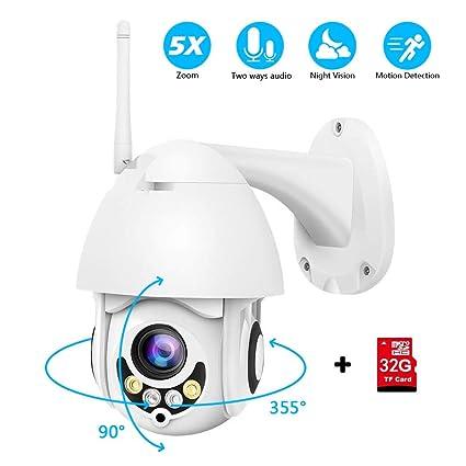 PTZ Camara Vigilancia con Zoom 5X, Camara WiFi Exterior Impermeable IP66 con Audio de Dos Vías, Visión Nocturna, Detección de Movimiento, Notificación ...