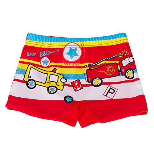Large, Red-Car TEcell Kids Swimming Trunks Boys Swimming Trunks Cute Cartoon Boxer Swimming Pool Boys Swimwear Swimsuit