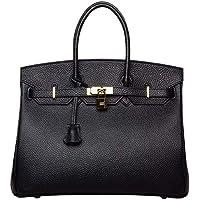 Women's Genuine Leather Padlock Handbags Ladies Top Handle Shoulder Handbags Purse Tote Crossbody Handbags with Gold Hardware