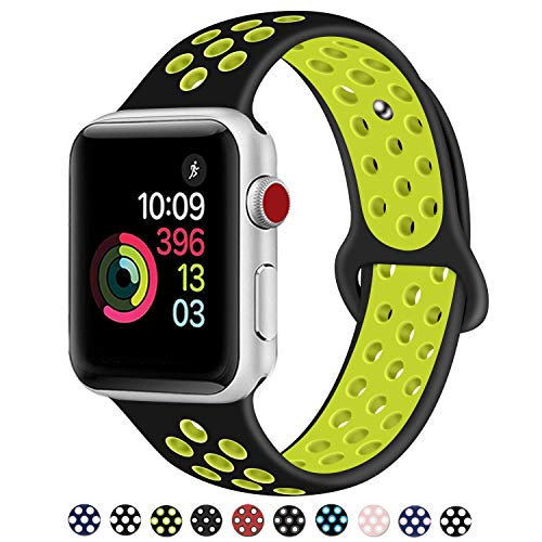 DOBSTFY Compatible for iWatch Bands 38mm 42mm,Soft Silicone Sport Band Replacement Wristband Compatible for iWatch Series 1/2/3, Ni ke+, Sport, Edition, 42mm M/L, Black/Volt