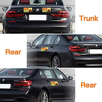 Vaincre Set of 4 Reflective Student Driver Magnets for Car, Vehicle Sign Magnetic Bumper Sticker for New Driver/Novice in Yellow: Automotive