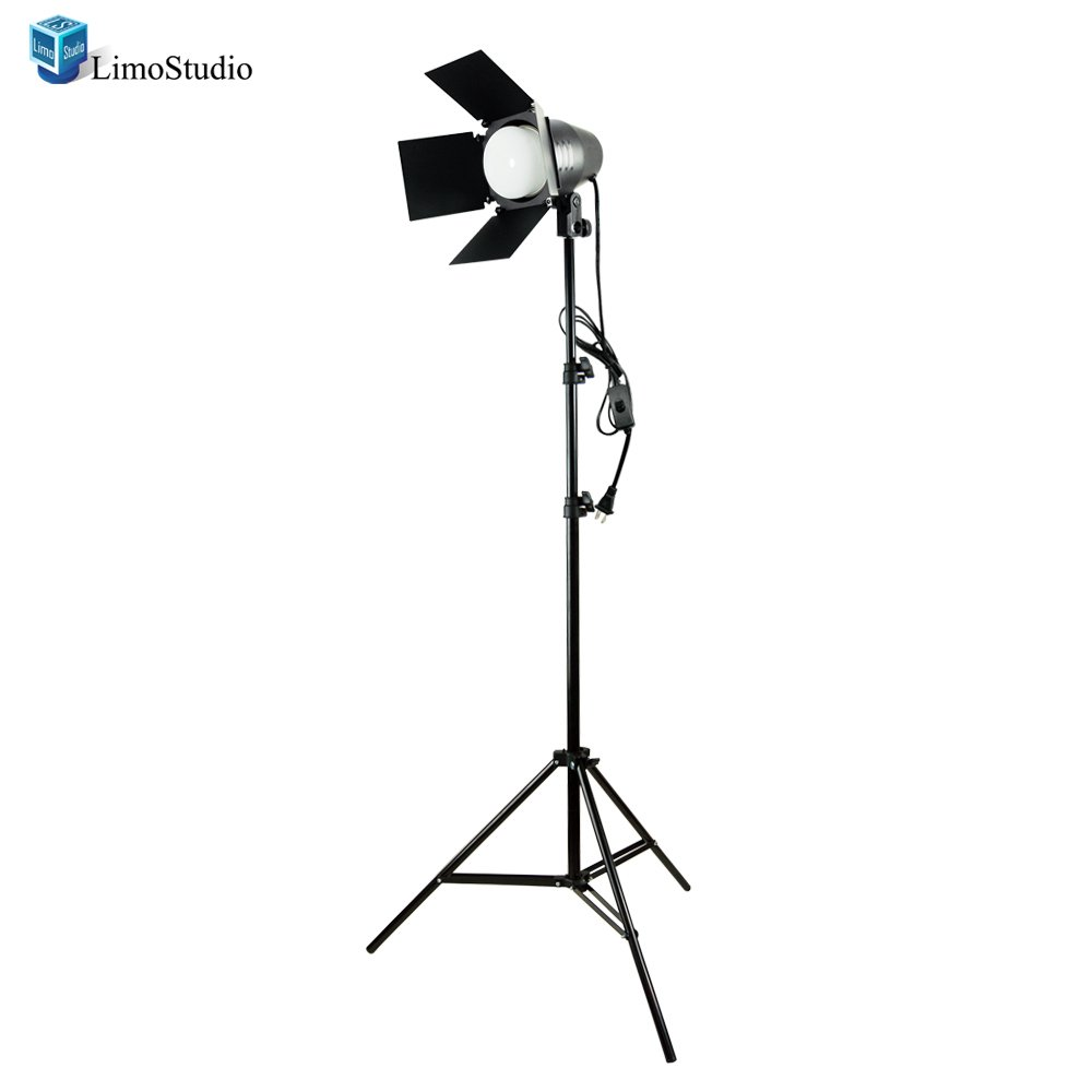 LimoStudio Photography Photo Studio Continuous LED Day Light Bulb Barndoor Light Stand Kit, AGG1697