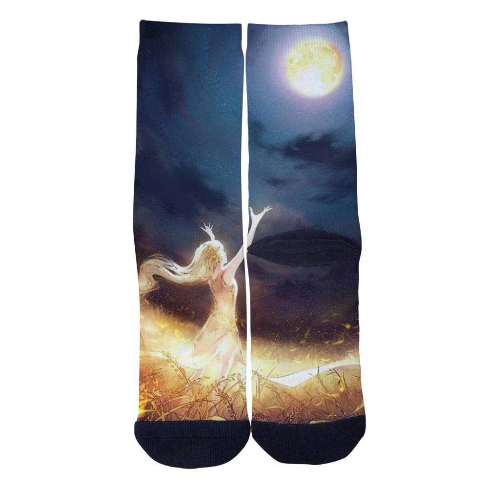 TheFun-Z Custom Moon Catcher Socks Novelty Funny Cartoon Crew Socks Elite Casual Socks