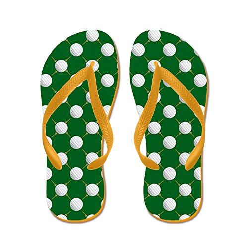 CafePress Golf Balls and Tees On Green - Flip Flops, Funny Thong Sandals, Beach Sandals Orange