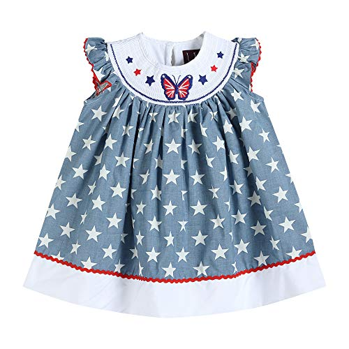 Lil Cactus 32126030096 Bishop Dress -Butterflies Americana Blue ()