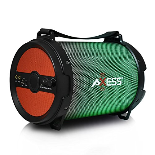 AXESS SPBL1046 Portable Bluetooth 2.1 LED Lit Hi-Fi Cylinder