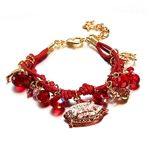 Gold Plated Multi-strand Tinkerbell Ocean Series Charm Bracelet for Young Girls Kids Children (Series Gold Plated Glass)
