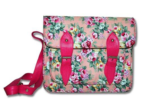 # gb0003pf # bolso mano Vintage Satchel Bag plástico Diseño hombro bolso en color rosa con flores rosas