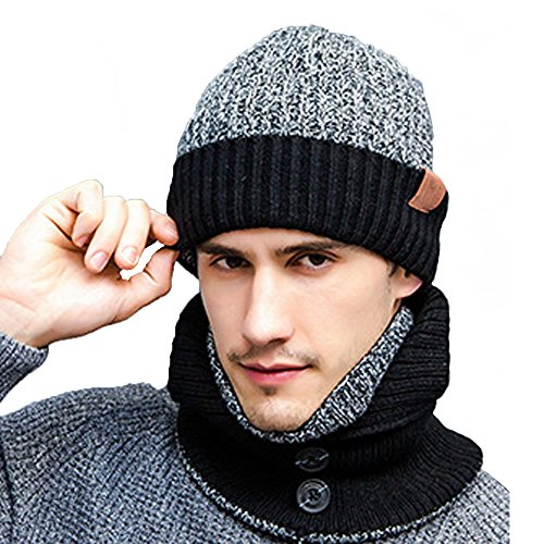 Knit 3 Piece Set - K-mover 3-Pieces Winter Knit Hat Set Warm Beanie Hat + Scarf + Gloves Winter Set for Men and Women (Deep gray)