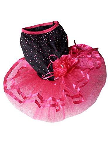 Dogloveit Cotton Flash Diamond Tutu Dress Dog Clothes For Puppy Cat,Pink,X-Small