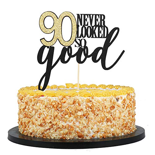 QIYNAO Happy Birthday Cake Topper 90th Birthday Cake Topper 90 Never Looked so Good,Wedding,Anniversary,Birthday Party Decorations (90th) (Cake Birthday 90th Decorations)
