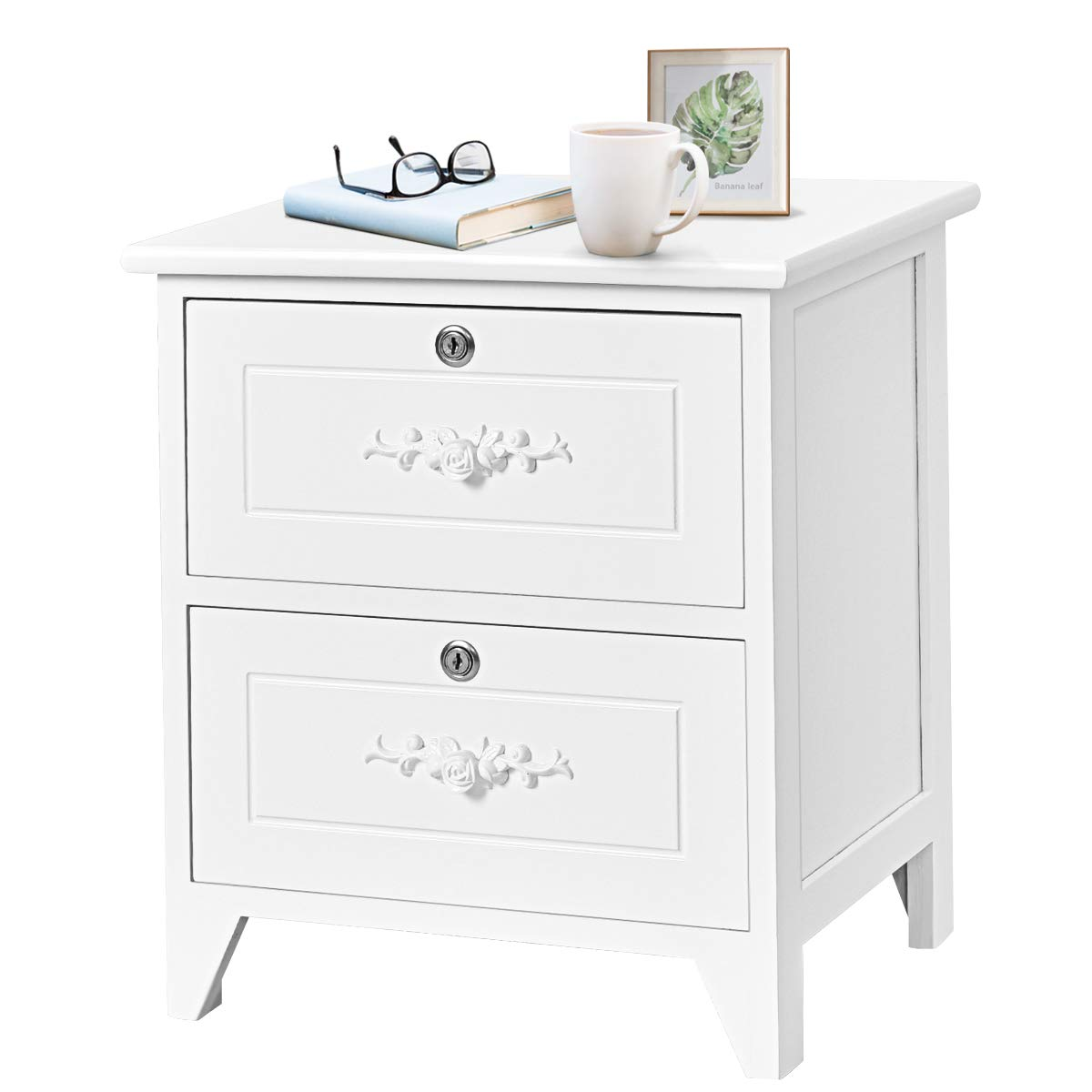 Giantex End Table Wooden W/ 2 Locking Drawers and Handles for Storage and Organize, Solid Structure for Bedroom Beside Sofa Side Nightstand (1, White)