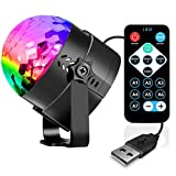 Sound Activated Party Lights with Remote Control Dj Lighting, USB Powered RBG Disco Ball Light, Strobe Lamp 7 Modes Stage Par Light for Home Room Dance Parties Birthday DJ Karaoke Machine Xmas Club