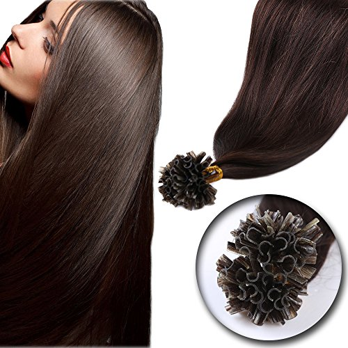 [100 Strands 20'' U Tip Remy Virgin Human Hair Extension—Dark Brown #2—Pre Bonded Italian keratin Nail Tips—Superior Salon Quality 50g] (Stock And Bond Halloween Costume)