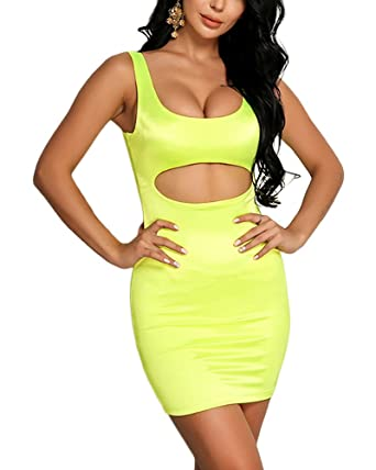 ffcc52f7b088c Joyfunear Women's Sexy Kim Birthday Outfit Cut Out Satin Bodycon Mini Dress  Neon Green Small