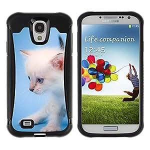 Suave TPU GEL Carcasa Funda Silicona Blando Estuche Caso de protección (para) Samsung Galaxy S4 IV I9500 / CECELL Phone case / / White Angora Kitten Blue Cute Cat /