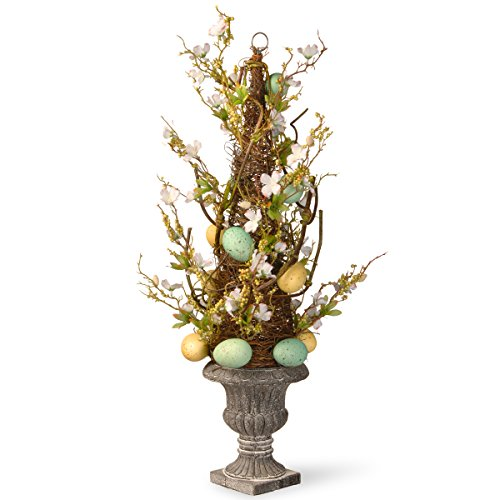 National Tree 27 Inch Potted Tree with Pastel Easter Eggs and Flowers (RAE-15512TS27) -
