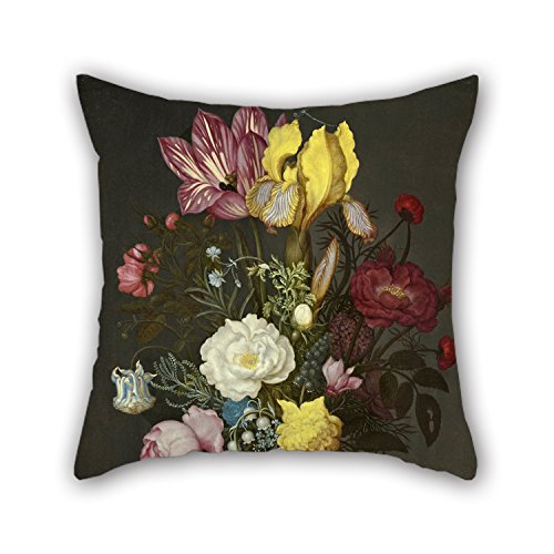 Alphadecor Oil Painting Ambrosius Bosschaert The Elder - Bouquet Of Flowers In A Glass Vase Throw Cushion Covers 16 X 16 Inches / 40 By 40 Cm Best Choice For Dining Room,boy Friend,kids,wife,kids,m