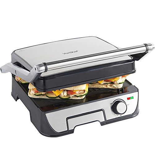 VonShef 4 Slice Panini Sandwich Press & Grill/ Griddle with Removable Plates - Stainless Steel - 2000W
