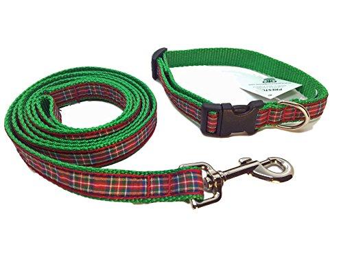 Preston Royal Stewart Plaid Dog Collar and Leash Set Red/blue/green Tartan Ribbon and Nylon Webbing (Small) by Preston Inc