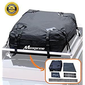 Rooftop Cargo Bag, Maxxprime 100% Waterproof Soft Roof top Luggage Carriers with Roof Protective Mat, Wide Straps - Works With or Without Roof Rack, Best for Traveling, Cars, Vans, SUVs