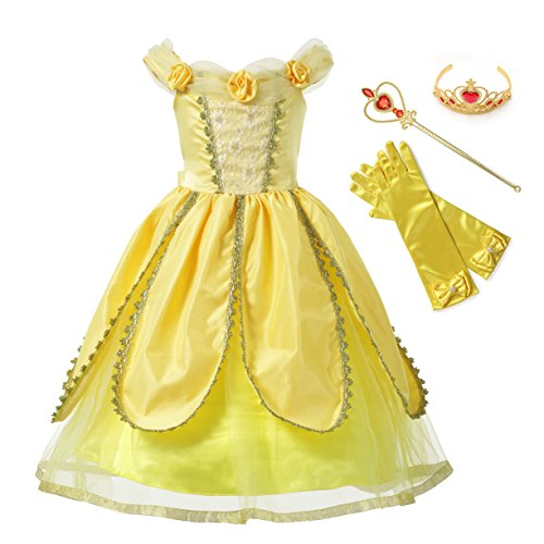 Muababy Belle Princess Party Cosplay Costume Flower Dress (Yellow one, 4 Years)…