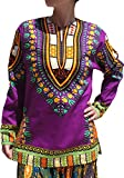 RaanPahMuang Open Collar Long Sleeve African Dashiki Print Dance To Afrika Shirt, Small, Purple Violet