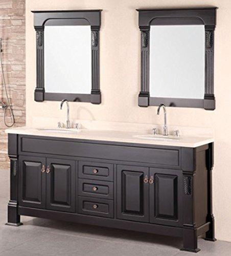 [Design Element Marcos Double Sink Vanity Set wih Crème Marfil Marble Countertop, 72-Inch] (Drawers Double Sink Vanity)
